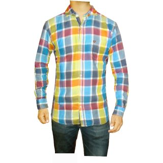 Granix Men's Casual Multicoloured Checkered Shirts