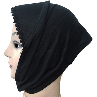 Hijab BLACK LACE RHINSTONE CANVAS NINJA Under Scarf Ladies Abaya Head Hair Cover Women Tube Cap Burqa Stole Hosiery