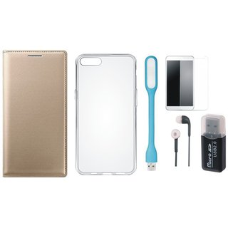 Samsung J5 Prime Cover with Memory Card Reader, Silicon Back Cover, Tempered Glass, Earphones and USB LED Light