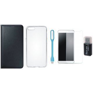 Samsung J5 Prime Stylish Cover with Memory Card Reader, Silicon Back Cover, Tempered Glas and USB LED Light