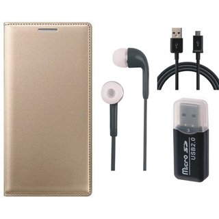Samsung J5 Prime Leather Flip Cover with Kick Stand with Memory Card Reader, Earphones and USB Cable