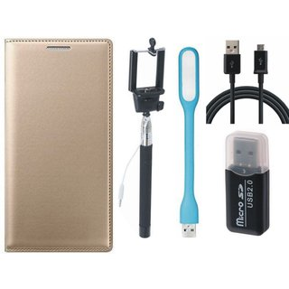 Samsung J5 Prime Leather Flip Cover with Kick Stand with Memory Card Reader, Selfie Stick, USB LED Light and USB Cable