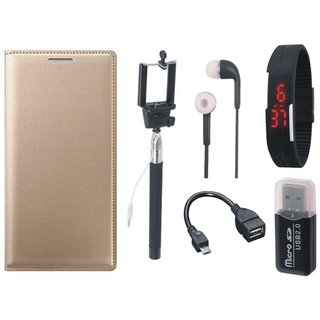 Samsung J5 Prime Leather Flip Cover with Kick Stand with Memory Card Reader, Selfie Stick, Digtal Watch, Earphones and OTG Cable