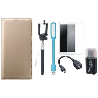 Lenovo K4 Note Flip Cover with Memory Card Reader, Free Selfie Stick, Tempered Glass, LED Light and OTG Cable