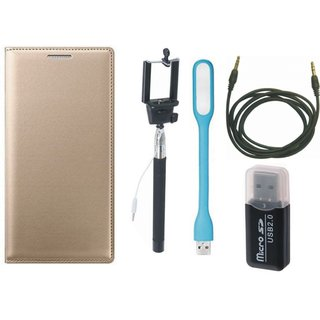 Samsung J5 Prime Leather Flip Cover with Kick Stand with Memory Card Reader, Selfie Stick, USB LED Light and AUX Cable