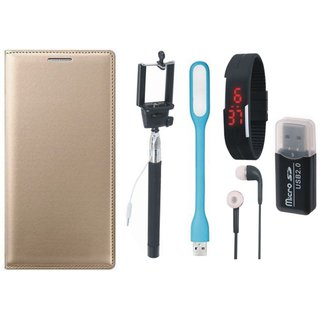 Samsung J5 Prime Leather Flip Cover with Kick Stand with Memory Card Reader, Selfie Stick, Digtal Watch, Earphones and USB LED Light
