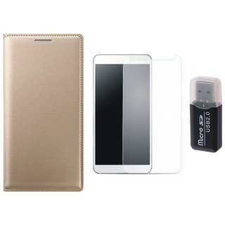 Samsung J5 Prime Leather Cover with Memory Card Reader, Tempered Glass