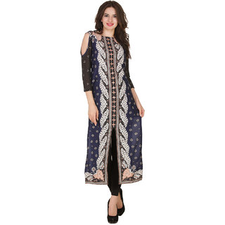 Lemoncharm Embroidered Women Front Slit and Cold Shoulder Kurta