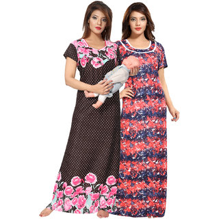 Be You Floral Women Nightgowns / Maternity Wear Combopack of 2 (Multicolor)