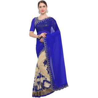 Swaron Women's Cream and Blue Colored Wedding Wear Net,Georgette Kashidakari,Zari and Sequin Embroidery Saree