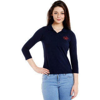 Cult Fiction Polo Neck Navy 100 Cotton Fabric T-Shirt For Women
