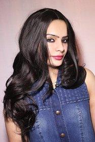 Ritzkart Womens Fashion Style Wavy Curly Long Hair Girl Full Wigs black brown 6094 3H33