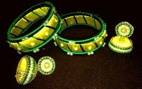 bhagya handmade green-yellow thread bangles and jhumka
