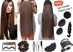 Ritzkart Brown ( Dark Maroon ) 24 Inch Hair Extension Qulaity 100 Feel Realistic Get Freebie Hair Accessories Worth up to 299/- ( Limited Promotional Offer )