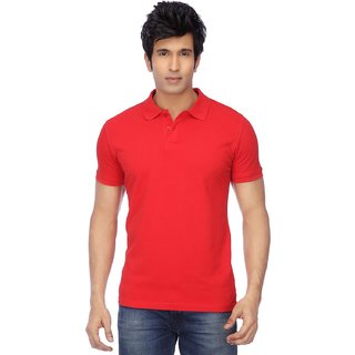 Ketex Mens Red Plain Half Sleeve Polo Collar Tshirt