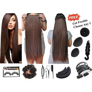 Ritzkart Brown ( Dark Maroon ) 24 Inch Hair Extension Qulaity 100% Feel Realistic Get Freebie Hair Accessories Worth up to 299/- ( Limited Promotional Offer )