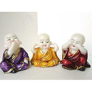 AOEC DECORZ SET OF THREE CHILD MONKS FOR HOME DECOR,GIFT,HOUSE WARMING GIFT  SHOWPIECE FOR HOME DECOR  STATUE FOR HOME DCOR