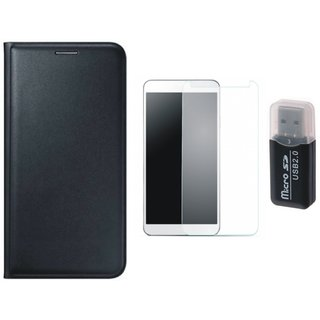 Samsung J5 2016 ( SM-J510 ) Leather Cover with Memory Card Reader, Tempered Glass