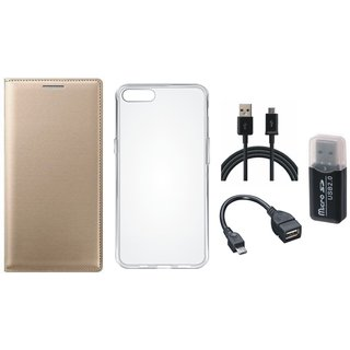 Samsung J5 Prime Luxury Cover with Memory Card Reader, Silicon Back Cover, OTG Cable and USB Cable