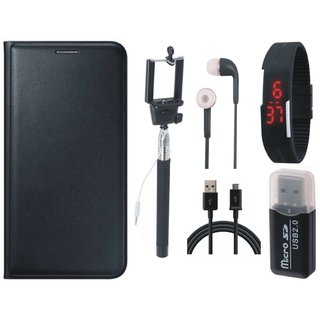 Samsung J5 2016 ( SM-J510 ) Leather Cover with Memory Card Reader, Selfie Stick, Digtal Watch, Earphones and USB Cable