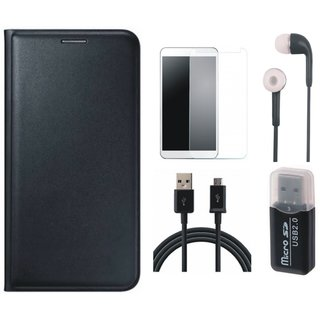Samsung J5 2016 ( SM-J510 ) Leather Cover with Memory Card Reader, Earphones, Tempered Glass and USB Cable