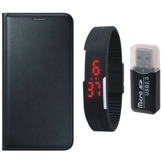 Samsung J5 2016 ( SM-J510 ) Leather Cover with Memory Card Reader, Digital Watch