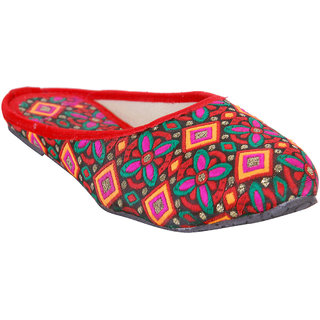 Meia Women Red Color Ethnic Slippers