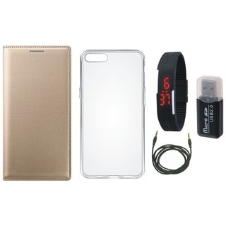 Lenovo K4 Note Leather Cover with Memory Card Reader, Silicon Back Cover, Digital Watch and AUX Cable
