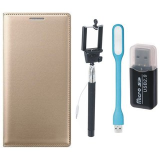 Samsung J5 2016 ( SM-J510 ) Flip Cover with Memory Card Reader, Selfie Stick and USB LED Light