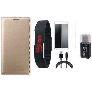 Lenovo K4 Note Leather Cover with Memory Card Reader, Free Digital LED Watch, Tempered Glass and USB Cable