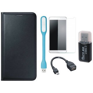 Lenovo K4 Note Flip Cover with Memory Card Reader, Tempered Glass, USB LED Light and OTG Cable