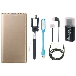 Samsung J5 2016 ( SM-J510 ) Flip Cover with Memory Card Reader, Selfie Stick, Earphones, USB LED Light and AUX Cable