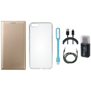 Samsung J5 2016 ( SM-J510 ) Flip Cover with Memory Card Reader, Silicon Back Cover, USB LED Light, USB Cable and AUX Cable