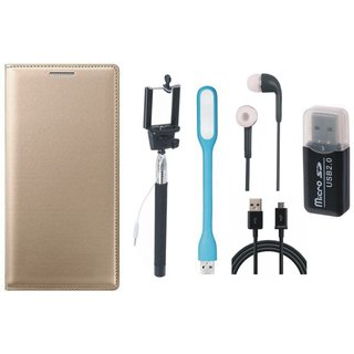 Samsung J5 2016 ( SM-J510 ) Flip Cover with Memory Card Reader, Selfie Stick, Earphones, USB LED Light and USB Cable