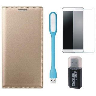 Samsung J5 2016 ( SM-J510 ) Flip Cover with Memory Card Reader, Tempered Glas and USB LED Light