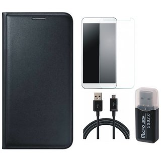 Lenovo K5 Note Leather Cover with Memory Card Reader, Tempered Glass and USB Cable