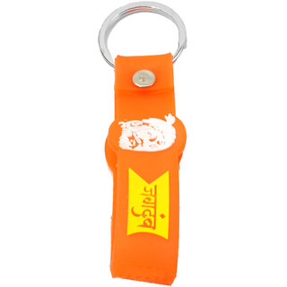Faynci Jagdamba Silicon Orange Key Chain with Chatrapati Shivaji Maharaj log with metal spring ring