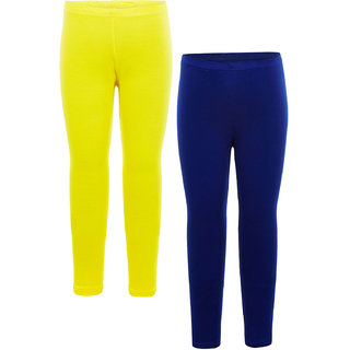 Naughty Ninos Girls Cotton Legging Combo of Royal Blue and Yellow