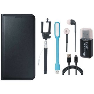 Samsung J5 2016 ( SM-J510 ) Stylish Cover with Memory Card Reader, Selfie Stick, Earphones, USB LED Light and USB Cable
