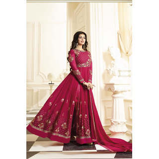 Salwar Soul Designer Georgette Pink Embroidered Semi Stitched Long Anarkali