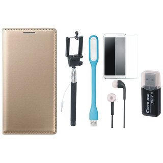 Samsung J5 2016 ( SM-J510 ) Leather Flip Cover with Kick Stand with Memory Card Reader, Free Selfie Stick, Tempered Glass, Earphones and LED Light