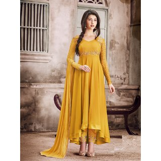 Salwar Soul Designer Georgette Embroidered Semi Stitched Long Anarkali Suit