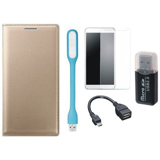 Samsung J5 2016 ( SM-J510 ) Leather Cover with Memory Card Reader, Tempered Glass, USB LED Light and OTG Cable