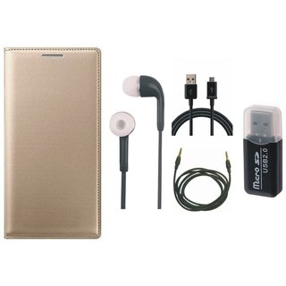 Samsung J5 2016 ( SM-J510 ) Leather Cover with Memory Card Reader, Earphones, USB Cable and AUX Cable