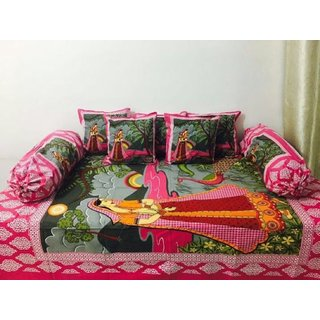 Attractivehomes Beautiful Jaipuri Print Queen Size Double Bedsheet With 2 Pillow Covers