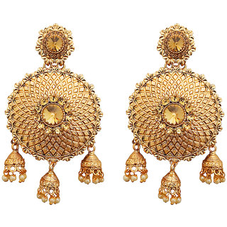 JewelMaze Brown Austrian Stone Gold Plated Dangler Earrings -1310550