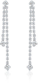 Oviya Rhodium Plated Dazzling Array Earrings With Crystal For Women
