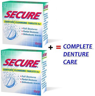 SECURE Denture Cleansing 32 Tablets Combo of 2 Packs