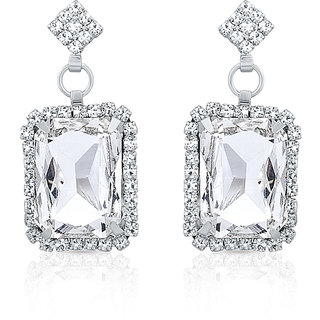Oviya Rhodium Plated Beautiful Rendezvous Earrings With Crystal For Women