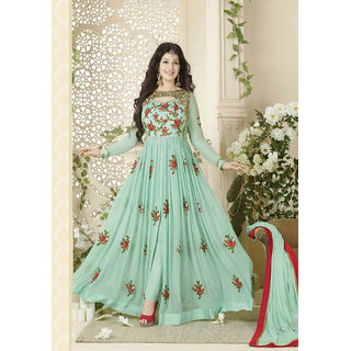 Ethnic Empire Designer Beautiful Light Green Flower Printed Long Anarkali Suit for women  girls